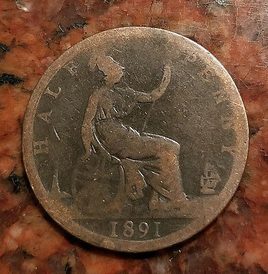 1891 Great Britain Half Penny Coin - #3274