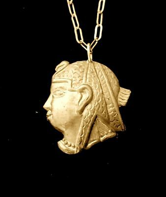 Vintage 1920s Egyptian Revival Pharaoh Profile Necklace Rare!