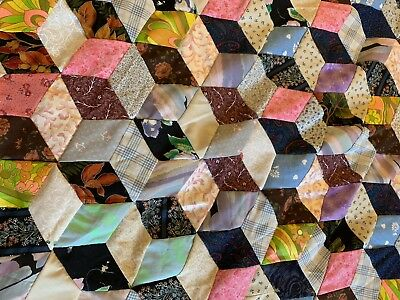 Hand Pieced Patchwork Quilt Top - Twin Size