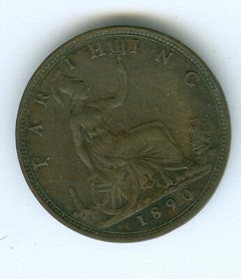 Great Britain 1890 Farthing--Circulated