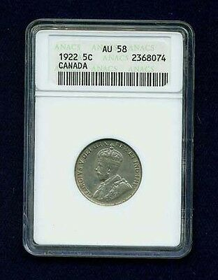 Canada  George V  1922  5 Cents Coin, Almost Uncirculated, Anacs Certified Au-58