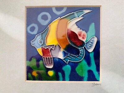 GLASS PAINTING BY SAM Fish Swimming 9 1/2'' x 11 1/2''