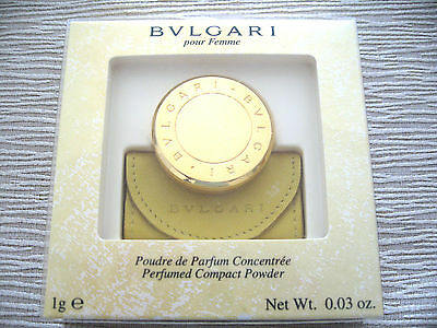 RARE Vintage Bulgari Perfumed Gold Compact Powder Leather Pouch