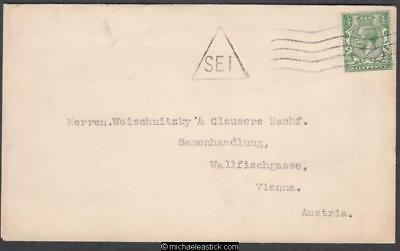 Great Britain 1913-14 KGV Stamp with Triangle Post Mark Cover to Austria