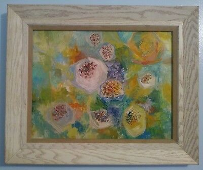 """Vintage Abstract """"flowers""""  Expressionist Oil/masonite Board  White Wood Frame"""