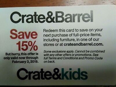 Crate & Barrel 15% Off Entire Order In-store/online /// Expires Feb 3, 2019
