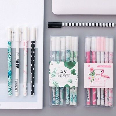 6Pcs/box Green Plants Sakura Gel Pen Kawaii School Office Supply Stationery Gift