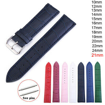 10-24mm Colorful Genuine Leather Strap Crocodile Pattern Replacement Watch Band