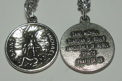"Vintage-Look St Michael The Archangel ""Guardian of Souls"" Holy Medal on Chain"