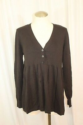 Oh Baby Maternity Brown Long Sleeve Cardigan Sweater Size L NWT