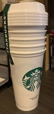 NEW - Starbucks Coffee Reusable Cups - White Tumblers 16 oz - 5 Pack.