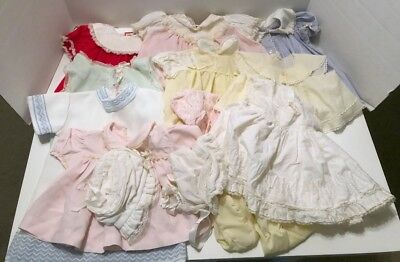 Lot of 13 Pieces of Vintage Baby Girl Clothes Dresses Lace Bryan Doll Reborn