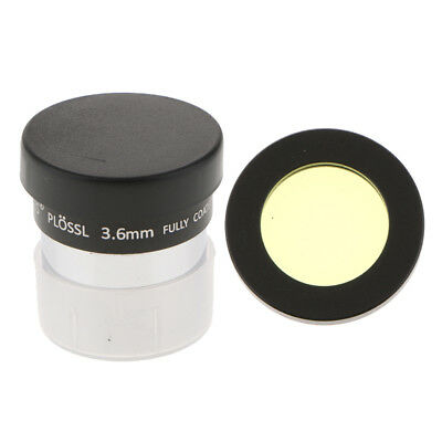 55 Degree Telescope Eyepiece Set Lens Plossl with 3.6mm Color Filter Yellow