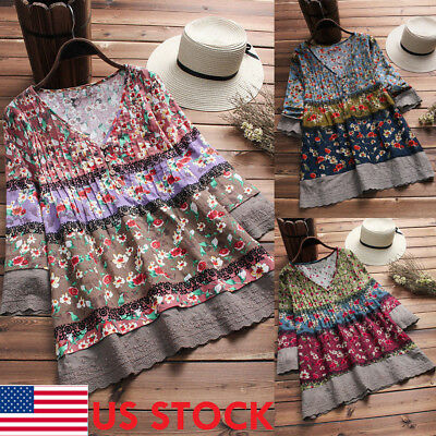 Women Retro Long Sleeve V-Neck Floral Casual Loose Blouse T-shirt Tops Plus Size