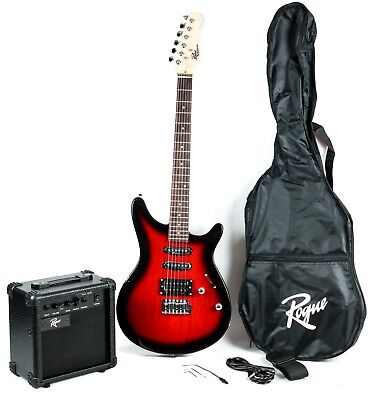 Rogue Rocketeer Electric Guitar Pack Red Burst Cracked 10500