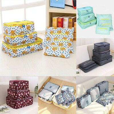 6Pcs/Set Travel Luggage Organizer Clothes Storage Pouch Suitcase Packing Bags