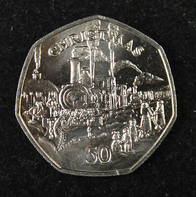 Isle Of Man Coin 50 Pence, 1984, Uncirculated, Christmas Steam Railway