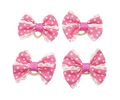 10x Pink Small Dog Grooming Hair Bows W/Rubber Bands Pet Bowknot Hair Accessory