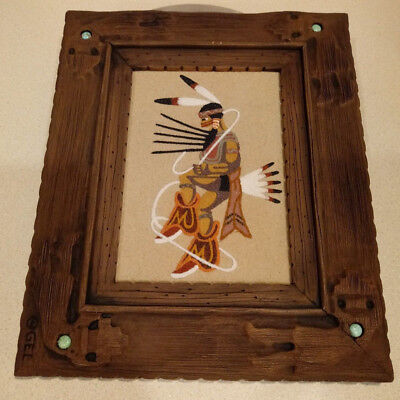 Vintage Navajo Sand Painting Hoop Dance Signed In GEL Frame With Turquoise