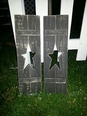 "Primitive Country Rustic Handmade 24"" Distressed Star Shutter Set"