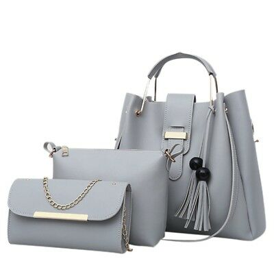 3 in 1 portable handbag shoulder bag clutch bun mother bag - gray L9Z8