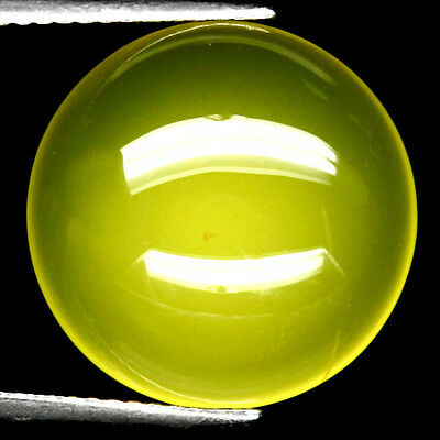 11.66 CT NATURAL YELLOW MADAGASCAR CHALCEDONY ROUND CABOCHON  16 mm.