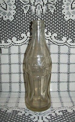 VINTAGE WWII CLEAR GLASS 'COCA COLA' BOTTLE 19.5cm hobble-skirt base