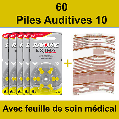 60 piles auditives Rayovac 10 / pile auditive 1.45V / pile - appareil auditif