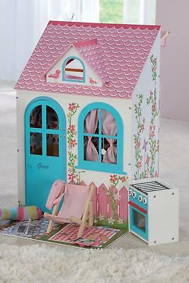 """Large Wooden Dolls House for 18"""" Doll Girls Kids Toy Set + Cooker & Chair NEW/PL"""