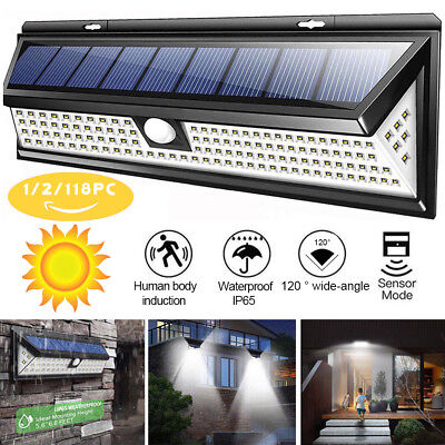 118/120 LED Solar Powered Motion Sensor Wall Security Light Lamp Garden Outdoor