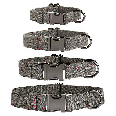 Thoroughbeds Dark Grey Herringbone Dog/Puppy Collar Tweed Soft Fleece Adjustable