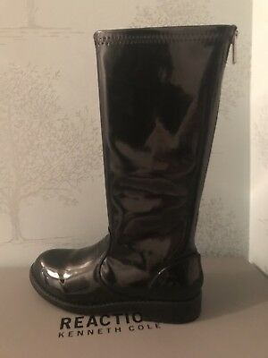 Ladies Reaction Kenneth Cole Patent Black Knee High Boots Size 5 BNIB