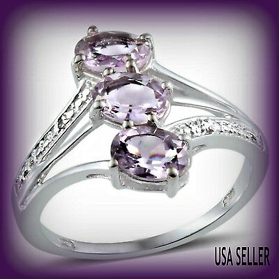TGW 2.26 Cts.  Lovely Rose De France Pink Amethyst Diamond Accent Trilogy Ring