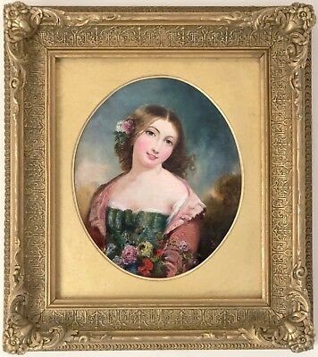 Rustic Beauty Antique Oil Painting attributed to William Bromley (fl. 1835-1888)