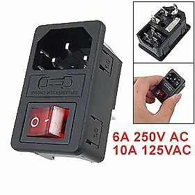 SODIAL(R) Inlet Male Power Socket with Fuse Switch 10A 250V 3 Pin IEC320 C1 S2R5