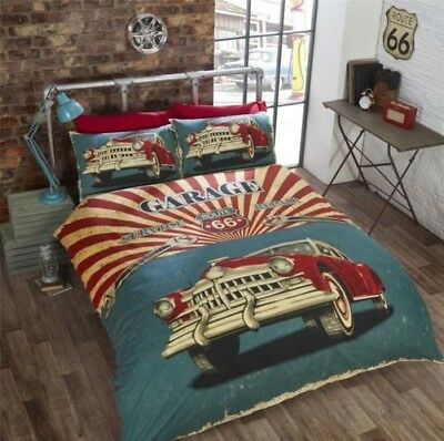 Vintage Car American Flag Route 66 Red Cream Teal Duvet Cover 3 Sizes