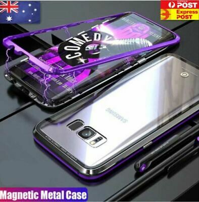 Magnetic Tempered Glass Metal Back Case Samsung Galaxy S8 S9 Plus Note 8 9