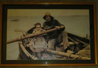 Vintage Helping Hand Oil Print Signed Emile Renouf 1881 In Wooden