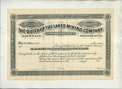 ca1885 QUEEN OF THE LAKES MINING CO BOSTON MA WEST VIRGINIA STOCK CERTIFICATE
