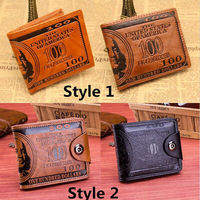Mens Wallet US 100 Dollar Faux Leather Bifold Credit Card Keys Wallet Purse