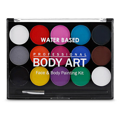 15 Colors Water Based Body Face Non-toxic Paint Kit Art Makeup Party Fancy Dress