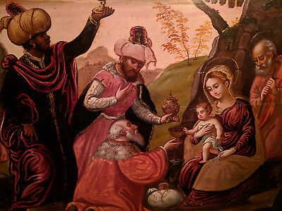 Adoration Of The Magi Luca Giordano Old Master Oil Painting On Panel-Beautiful