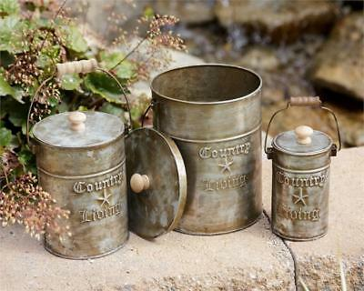 Primitive Country Living Set 3 Metal Canisters Rustic Farmhouse Vintage