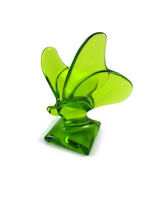 Baccarat Crystal Moss Green Butterfly on Stand Paperweight Figurine Signed