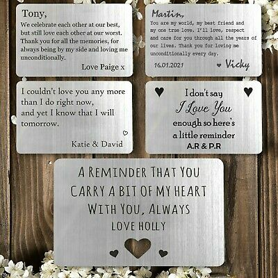 Personalised Wallet Insert Valentines Gift Idea for Husband Boyfriend Engraved