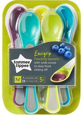 5 Tommee Tippee Explora Soft Tip Weaning Spoons 6mth+ 5 Pieces FREE UK DELIVERY
