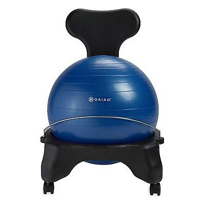 Gaiam Classic Gym Yoga Exercise Fitness Balance Ball Office Desk Chair, Blue