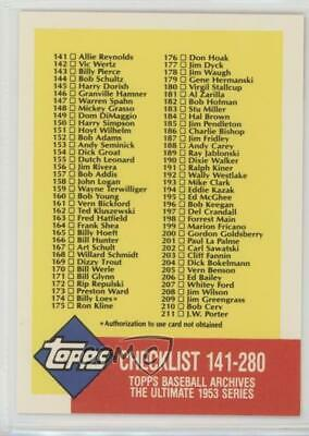 1991 Topps Archives The Ultimate 1953 Set #336 Checklist Baseball Card