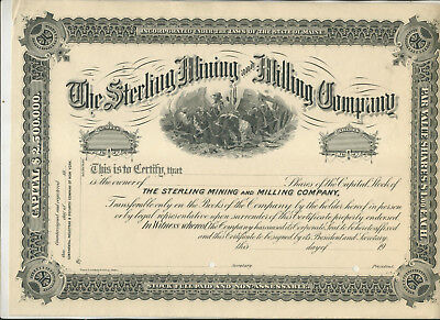 Unissued Sterling Mining & Milling Company Maine Stock Certificate