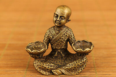 High Quality chinese old bronze hand carved buddha monk statue figure ornament